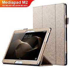 Carcasa de Cuero Cartera con Soporte L01 para Huawei MediaPad M2 10.0 M2-A01 M2-A01W M2-A01L Oro