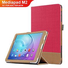 Carcasa de Cuero Cartera con Soporte L01 para Huawei MediaPad M2 10.1 FDR-A03L FDR-A01W Rojo