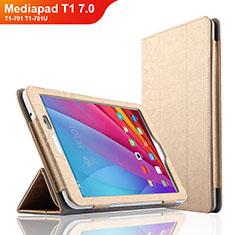 Carcasa de Cuero Cartera con Soporte L01 para Huawei Mediapad T1 7.0 T1-701 T1-701U Oro