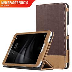 Carcasa de Cuero Cartera con Soporte L01 para Huawei MediaPad T2 Pro 7.0 PLE-703L Marron