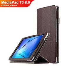 Carcasa de Cuero Cartera con Soporte L01 para Huawei MediaPad T3 8.0 KOB-W09 KOB-L09 Marron