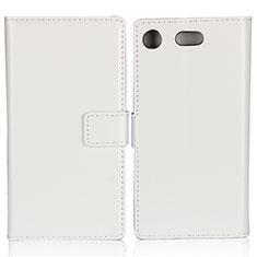Carcasa de Cuero Cartera con Soporte L01 para Sony Xperia XZ1 Compact Blanco