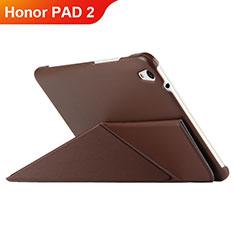 Carcasa de Cuero Cartera con Soporte L02 para Huawei Honor Pad 2 Marron