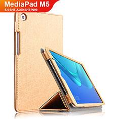 Carcasa de Cuero Cartera con Soporte L02 para Huawei MediaPad M5 8.4 SHT-AL09 SHT-W09 Oro