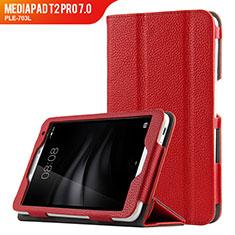 Carcasa de Cuero Cartera con Soporte L02 para Huawei MediaPad T2 Pro 7.0 PLE-703L Rojo