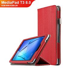 Carcasa de Cuero Cartera con Soporte L02 para Huawei MediaPad T3 8.0 KOB-W09 KOB-L09 Rojo