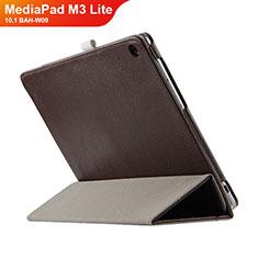 Carcasa de Cuero Cartera con Soporte L03 para Huawei MediaPad M3 Lite 10.1 BAH-W09 Marron