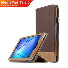 Carcasa de Cuero Cartera con Soporte L03 para Huawei MediaPad T3 8.0 KOB-W09 KOB-L09 Marron