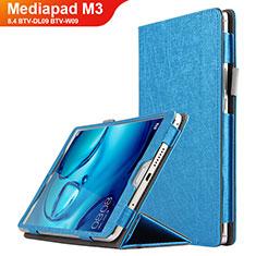 Carcasa de Cuero Cartera con Soporte L04 para Huawei Mediapad M3 8.4 BTV-DL09 BTV-W09 Azul