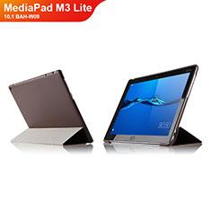 Carcasa de Cuero Cartera con Soporte L04 para Huawei MediaPad M3 Lite 10.1 BAH-W09 Marron