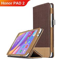 Carcasa de Cuero Cartera con Soporte L05 para Huawei Honor Pad 2 Marron