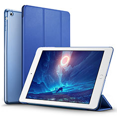 Carcasa de Cuero Cartera con Soporte L06 para Apple iPad Mini 3 Azul
