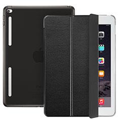 Carcasa de Cuero Cartera con Soporte L06 para Apple iPad Mini 4 Negro