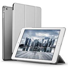 Carcasa de Cuero Cartera con Soporte L06 para Apple iPad Mini Plata