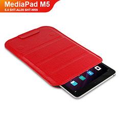 Carcasa de Cuero Cartera con Soporte L07 para Huawei MediaPad M5 8.4 SHT-AL09 SHT-W09 Rojo