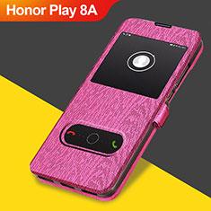 Carcasa de Cuero Cartera con Soporte para Huawei Honor Play 8A Rosa Roja