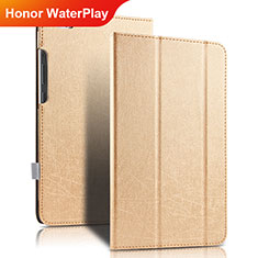 Carcasa de Cuero Cartera con Soporte para Huawei Honor WaterPlay 10.1 HDN-W09 Oro