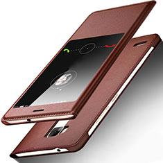 Carcasa de Cuero Cartera con Soporte para Huawei Mate 7 Marron