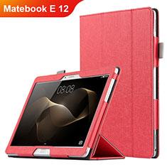 Carcasa de Cuero Cartera con Soporte para Huawei Matebook E 12 Rojo