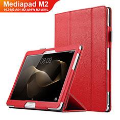 Carcasa de Cuero Cartera con Soporte para Huawei MediaPad M2 10.0 M2-A01 M2-A01W M2-A01L Rojo