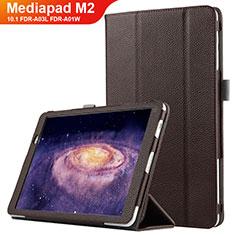 Carcasa de Cuero Cartera con Soporte para Huawei MediaPad M2 10.1 FDR-A03L FDR-A01W Marron