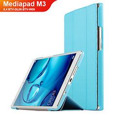 Carcasa de Cuero Cartera con Soporte para Huawei Mediapad M3 8.4 BTV-DL09 BTV-W09 Cian