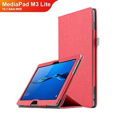 Carcasa de Cuero Cartera con Soporte para Huawei MediaPad M3 Lite 10.1 BAH-W09 Rojo