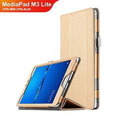Carcasa de Cuero Cartera con Soporte para Huawei MediaPad M3 Lite 8.0 CPN-W09 CPN-AL00 Oro