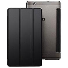 Carcasa de Cuero Cartera con Soporte para Huawei MediaPad M3 Negro