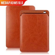 Carcasa de Cuero Cartera con Soporte para Huawei MediaPad M5 10.8 Marron