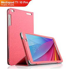 Carcasa de Cuero Cartera con Soporte para Huawei Mediapad T1 10 Pro T1-A21L T1-A23L Rosa Roja
