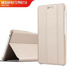 Carcasa de Cuero Cartera con Soporte para Huawei MediaPad T2 Pro 7.0 PLE-703L Oro