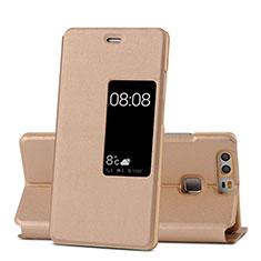 Carcasa de Cuero Cartera con Soporte para Huawei P9 Oro