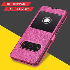 Carcasa de Cuero Cartera con Soporte para Huawei Y6 (2019) Rosa Roja