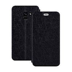 Carcasa de Cuero Cartera con Soporte para Samsung Galaxy A5 (2018) A530F Negro