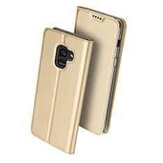 Carcasa de Cuero Cartera con Soporte para Samsung Galaxy A8 (2018) Duos A530F Oro