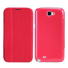 Carcasa de Cuero Cartera con Soporte para Samsung Galaxy Note 2 N7100 N7105 Rojo