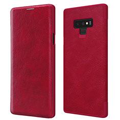 Carcasa de Cuero Cartera con Soporte para Samsung Galaxy Note 9 Rojo