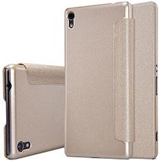 Carcasa de Cuero Cartera con Soporte para Sony Xperia XA Ultra Oro