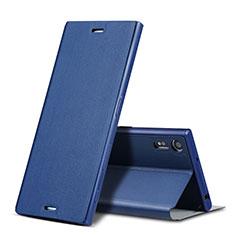 Carcasa de Cuero Cartera con Soporte para Sony Xperia XZ Azul