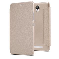 Carcasa de Cuero Cartera con Soporte para Xiaomi Redmi Note 2 Oro
