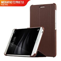 Carcasa de Cuero Cartera con Soporte R01 para Huawei MediaPad T2 Pro 7.0 PLE-703L Marron