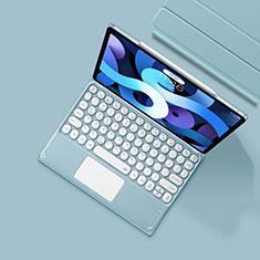 Carcasa de Cuero Cartera con Teclado K01 para Apple iPad Air 10.9 (2020) Azul Claro