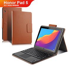 Carcasa de Cuero Cartera con Teclado para Huawei Honor Pad 5 10.1 AGS2-W09HN AGS2-AL00HN Marron