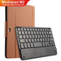 Carcasa de Cuero Cartera con Teclado para Huawei MediaPad M2 10.0 M2-A01 M2-A01W M2-A01L Marron