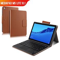 Carcasa de Cuero Cartera con Teclado para Huawei MediaPad M5 Lite 10.1 Marron