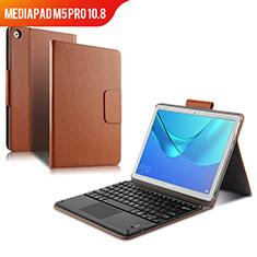 Carcasa de Cuero Cartera con Teclado para Huawei MediaPad M5 Pro 10.8 Marron