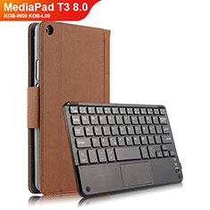 Carcasa de Cuero Cartera con Teclado para Huawei MediaPad T3 8.0 KOB-W09 KOB-L09 Marron