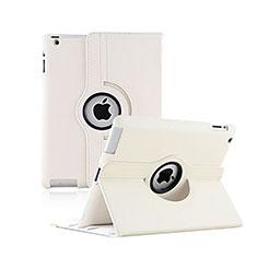 Carcasa de Cuero Giratoria con Soporte para Apple iPad 2 Blanco
