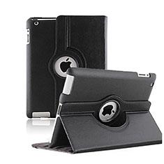Carcasa de Cuero Giratoria con Soporte para Apple iPad 2 Negro